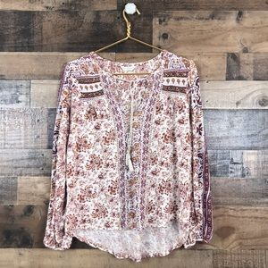Lucky Brand Peasant Style Long sleeve High low top